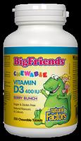 Natural Factors Big Friends Vitamin D3 400 IU 250 Chewable Tablets Berry Bunch Flavour