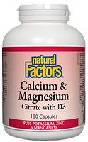 Natural Factors Calcium & Magnesium Citrate 1:1 with D3