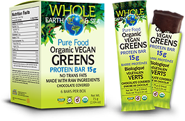 Natural Factors Whole Earth & Sea Organic Vegan Greens Protein Bar - Box of 6 Bars