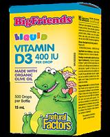 Natural Factors Big Friends Vitamin D3 Liquid 400 IU Per Drop 15ml / 500 drops