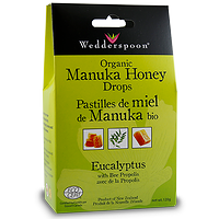 Wedderspoon Organic Manuka Honey Drops Eucalyptus with Bee Propolis 120g