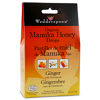 Wedderspoon Organic Manuka Honey Drops Ginger with Echinacea 120g