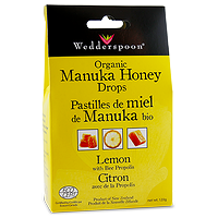 Wedderspoon Organic Manuka Honey Drops Lemon with Bee Propolis 120g