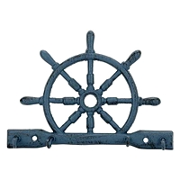 Porte clés roue de bateau bleu s3810