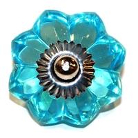 Bouton de verre fleur bleu abvbv