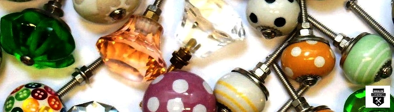 Boutons de meuble verre porcelaine