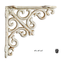 """Équerre décorative 4"""" en fonte blanc antique  27-101 (300)"""