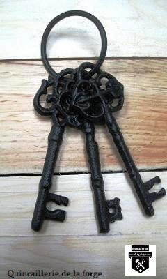 Trousseau de clés déco en fonte noir s1392 (350)