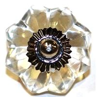 Bouton de verre fleur clair abvcv
