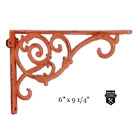 Équerre décorative orange rustique   en fonte   w6259-o  (450)
