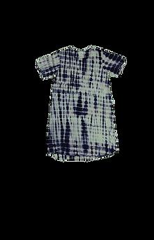 Robe d'intérieur ou jaquette femme manches courtes en BAMBOU TIE DYE noir et blanc (ROJATDmc0201c)
