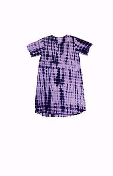 Robe d'intérieur ou jaquette femme manches courtes en BAMBOU TIE DYE royal et blanc (ROJATDmc1101c)