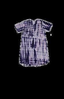 Robe d'intérieur ou jaquette femme manches courtes en BAMBOU TIE DYE marine et blanc (ROJATDmc5801c)