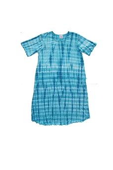 Robe d'intérieur ou jaquette femme manches courtes en BAMBOU TIE DYE turquoise et blanc (ROJATDmc7401c)