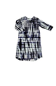 Robe d'intérieur ou jaquette femme manches longues en BAMBOU TIE DYE noir et blanc (ROJATDml0201c)