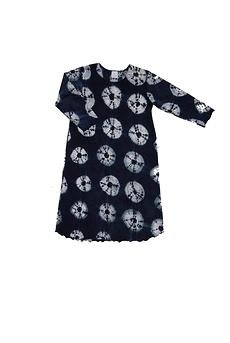 Robe d'intérieur ou jaquette femme manches longues en BAMBOU TIE DYE noir et blanc (ROJATDml0201r)