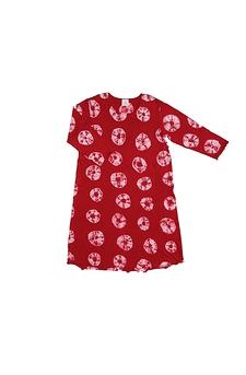 Robe d'intérieur ou jaquette femme manches longues en BAMBOU TIE DYE rouge et blanc (ROJATDml0501r)