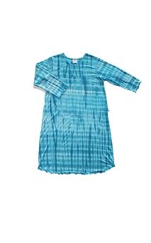 Robe d'intérieur ou jaquette femme manches longues en BAMBOU TIE DYE turquoise et blanc (ROJATDml7401c)