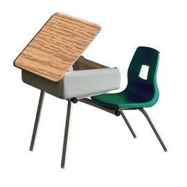 Chaise pupitre coquille  avec dessus ouvrant