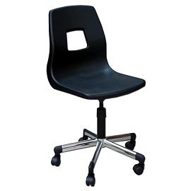Chaise ordinateur coquille base chrome avec vis