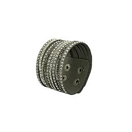 Bracelet manchette cuir strass clous gris