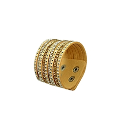 Bracelet manchette cuir strass clous beige