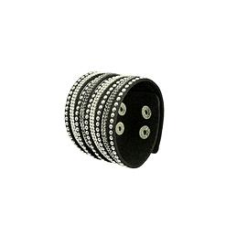 Bracelet manchette cuir strass clous noir