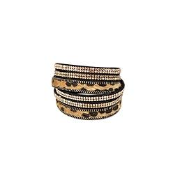 Bracelet 2 tours cuir strass léopard noir