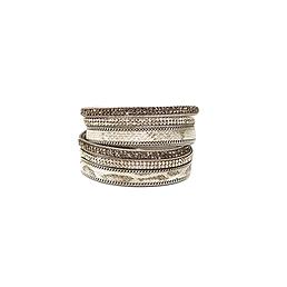 Bracelet 2 tours cuir strass serpent argent