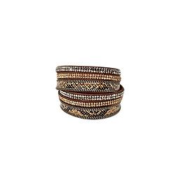 Bracelet 2 tours cuir strass serpent brun