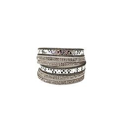 Bracelet 2 tours cuir strass argent foncé