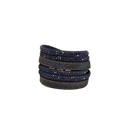 Bracelet 2 tours cuir strass écailles marine