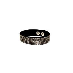 Bracelet de cuir strass anthracite