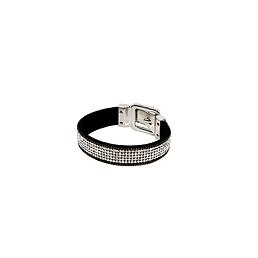 Bracelet de cuir style montre strass noir