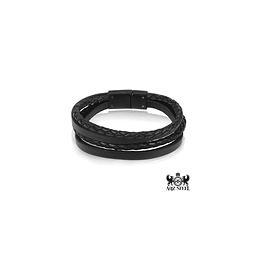 Bracelet brins de cuir noir