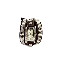 Montre bracelet 2 tours cuir strass noir