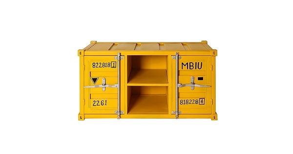 meuble t l industriel jaune style container. Black Bedroom Furniture Sets. Home Design Ideas