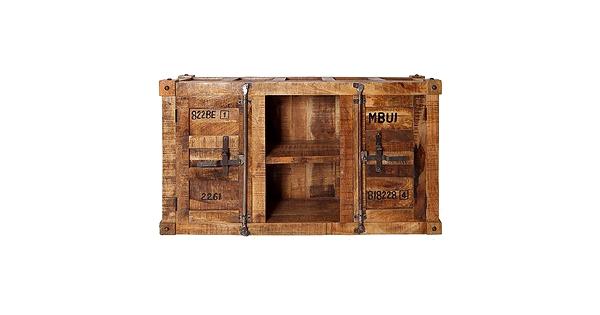 meuble t l industriel en bois de manguier style container. Black Bedroom Furniture Sets. Home Design Ideas
