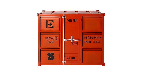 Container style industrial chest with 6 drawers for Container en francais