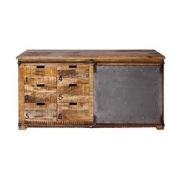 industrial wood furniture. Modren Industrial Mango Wood Industrial Buffet With 6 Drawers And 1 Metal Sliding Door On Industrial Wood Furniture