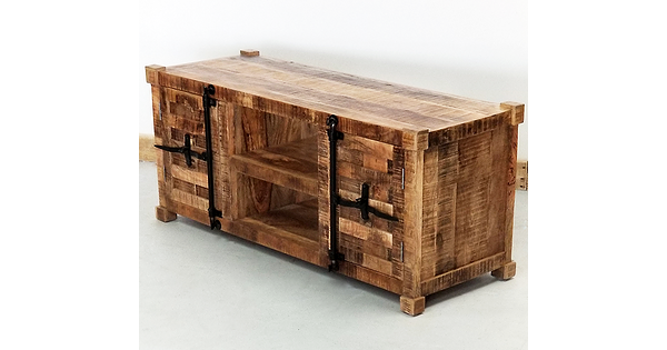 Meuble t l industriel en bois de manguier style container for Container en bois