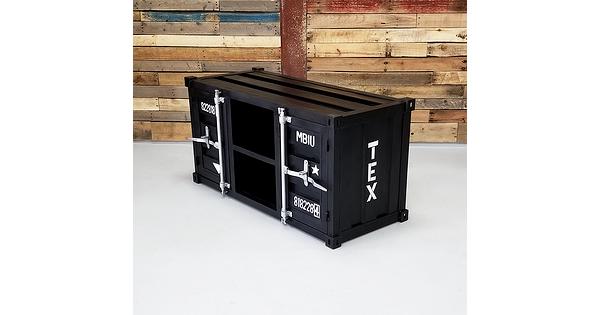 meuble t l industriel en m tal style container noir. Black Bedroom Furniture Sets. Home Design Ideas