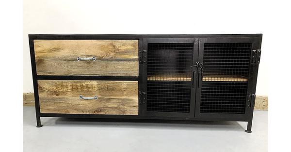 meuble t l style industriel porte en grillage et 2 tiroirs. Black Bedroom Furniture Sets. Home Design Ideas