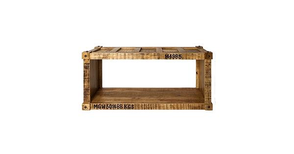 Table basse en bois de manguier style container for Container en bois