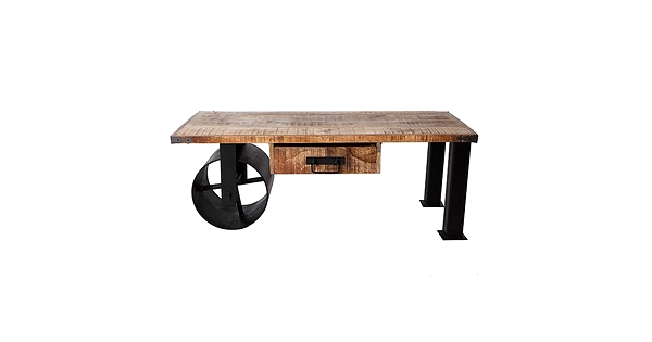 Table basse industrielle en bois de manguier brouette - Bois manguier qualite ...