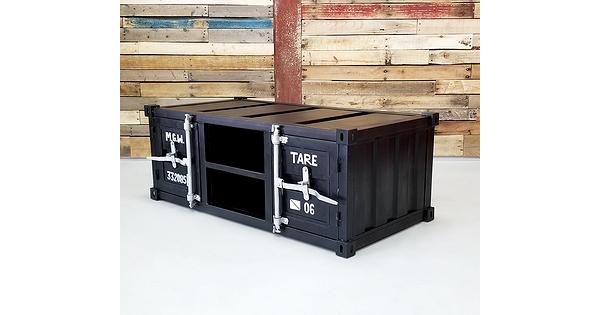 table basse industrielle en m tal style container noire. Black Bedroom Furniture Sets. Home Design Ideas