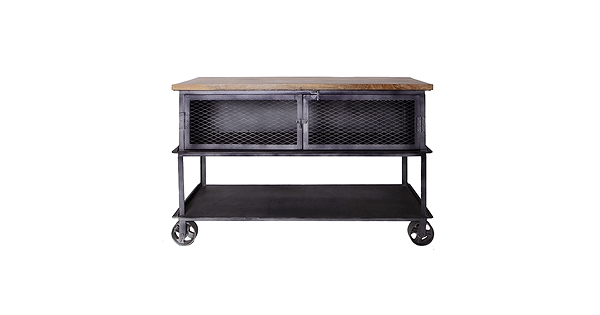 Table console industrielle sur roues de chariot plateau en bois de manguier - Bois manguier qualite ...