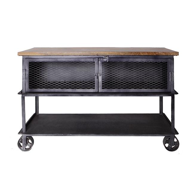 Table console industrielle sur roues de chariot plateau for Bois de manguier