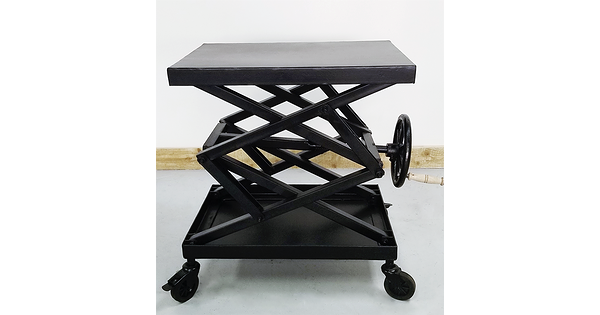 table d 39 appoint manivelle industrielle en acier sur roue. Black Bedroom Furniture Sets. Home Design Ideas