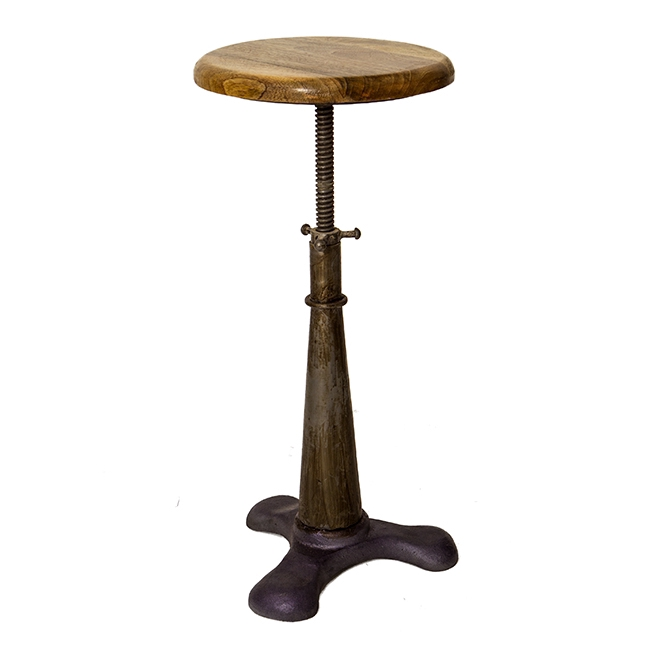Tabouret en acier avec assise en bois de manguier hauteur ajustable - Tabouret ajustable en hauteur ...